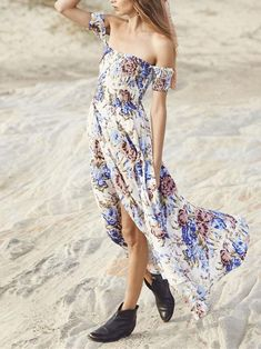 cfa900eedd1ab4 Bohemia Floral-Printed Off-the-shoulder Split-side Maxi Dress – oshoplive