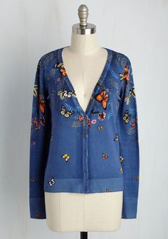 Flutter You Waiting For? Cardigan - Other Print, Casual, Critters, Summer… Vintage Sweaters, Blue Sweaters, Cardigans, Pretty Outfits, Cool Outfits, Pretty Clothes, Rainbow Cardigan, Blue Cardigan, Librarian Style