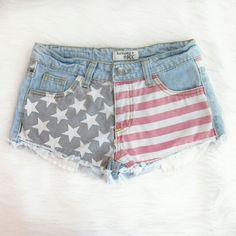 Patriotic cutoffs Be fourth of July ready with these cutoff shorts! Very gently worn - excellent condition! Waist laid flat 14 inches. Rise 8 inches. Inseam 1.5 inches. 100% cotton.  Bundle for best deals! Hundreds of items available for discounted bundles! You can get lots of items for a low price and one shipping fee!  Follow on IG: @the.junk.drawer harmony + HAVOC Shorts Jean Shorts