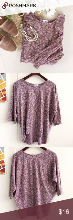 "Maroon/Purple Dolman Top Soft heathered maroon and white dolman top from Old Navy. Slight high low hem with rounded hem line. Elbow-3/4 length sleeves depending on arm length. Machine wash. Great for leggings& comfy, casual styling!  NWT, never worn, no flaws -Sz M -Chest, about 24"" lying flat (but difficult to measure this in a dolman style) -Length 23"" front, 27.5"" back  Reasonable offers considered  ❌no offsite transactions/trades Old Navy Tops"