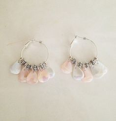 Pearly Shell Silver Hoop Earrings by TwistedPeacock on Etsy, $12.00