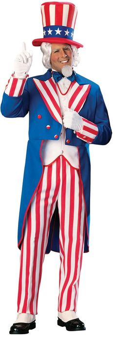 You can be the big hit at any patriotic party when you wear this Uncle Sam costume. This Uncle Sam costume is perfect for the Fourth of July, Halloween, stage Patriotic Costumes, Great Halloween Costumes, Halloween Cosplay, Halloween Ideas, Flapper Costume, Baby Costumes, Adult Costumes, Uncle Sam Costume, Carnival