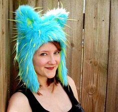 Blue Animal Hat Faux Fur Hood by Morphe on Etsy