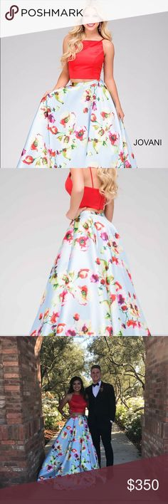 Two Piece Bateau White Floral Satin Prom Dress with Lace Pockets ...