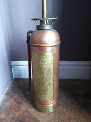 Antique Brass and Copper Fire Extinguisher Floor Lamp