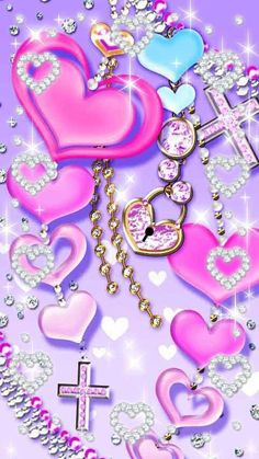 Pink hearts and Bling Wallpaper, Diamond Wallpaper, Heart Wallpaper, Cute Disney Wallpaper, Butterfly Wallpaper, Kawaii Wallpaper, Cute Wallpaper Backgrounds, Wallpaper Iphone Cute, Love Wallpaper