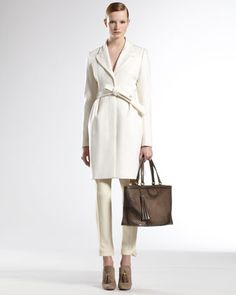Belted Coat & D Ring Hem Holiday Pants by Gucci at Bergdorf Goodman.