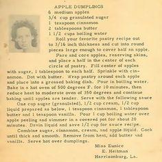 Roots from the Bayou : Family Recipe Friday ~ Apple Dumplings Retro Recipes, Old Recipes, Cookbook Recipes, Vintage Recipes, Fruit Recipes, Apple Recipes, Dessert Recipes, Cooking Recipes, Recipies