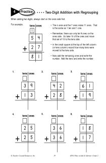 Two Digit Addition with Regrouping. (worksheet practice inspiration)
