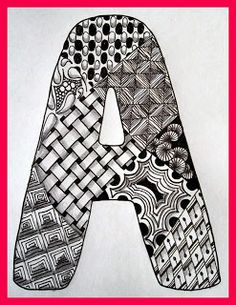 Tangled Alphabet including names of tangles used