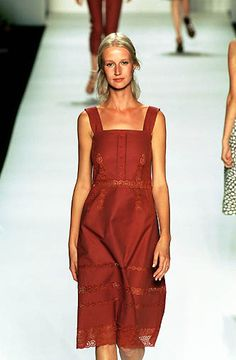 Marc Jacobs | Spring 2000 Ready-To-Wear | 43 Red strappy midi dress with lace panels