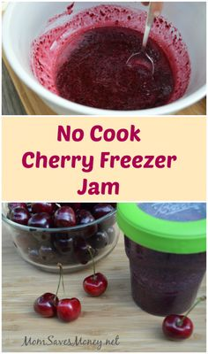 Homemade cherry freezer jam with only 3 ingredients and NO cooking!