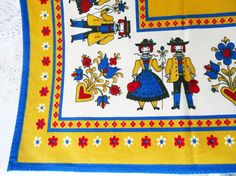 Beautiful Pennsylvania Dutch Folk Art Linen Tablecloth from Sixties Seventies. In very good vintage condition. Two light soil spots. One is one inch
