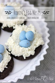 Robin's Egg Nests Cookies - Dark Chocolate cookies plus marshmallow & coconut