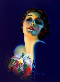 Rolf Armstrong Iris  beautiful woman art