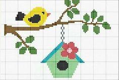 Achado.... Cross Stitch Bird, Cross Stitch Animals, Cross Stitch Charts, Cross Stitch Designs, Cross Stitching, Cross Stitch Embroidery, Embroidery Patterns, Cross Stitch Patterns, Crochet Cross