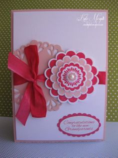 Five Way Flower- Use Quint Essential stamp & Circle Scallop punches by Stampin Up.