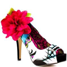 Women's Shoe Ladykiller Peep Toe Plat- White Multi by Iron Fist