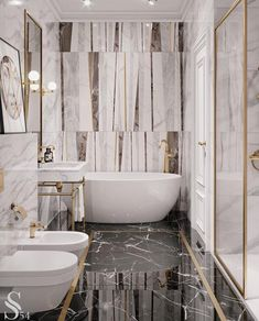 Home Interior Apartment Top 70 Best Marble Bathroom Ideas - Luxury Stone Interiors.Home Interior Apartment Top 70 Best Marble Bathroom Ideas - Luxury Stone Interiors Bad Inspiration, Bathroom Inspiration, Motivation Inspiration, Simple Bathroom, Modern Bathroom, Bathroom Ideas, Gold Bathroom, Tiled Bathrooms, Modern Vanity