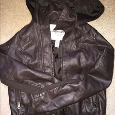 American Rag dark brown leather jacket Great condition, hardly worn, no wear or tear. Dark chocolate brown, great quality leather, American Rag of Macy's- size small American Rag Jackets & Coats