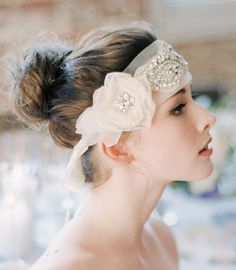 Silk Bridal Head Piece Wedding Sash Rhinestone Head by Serephine, $398.00
