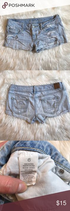 Destroyed American eagle jean shorts Destroyed Denim Shorts by American Eagle American Eagle Outfitters Shorts Jean Shorts