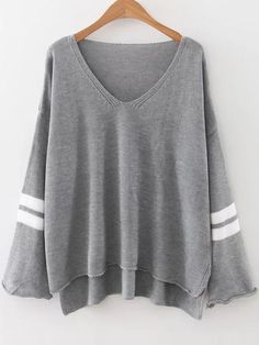 Grey Striped V Neck High Low Sweater -SheIn(Sheinside) Mobile Site