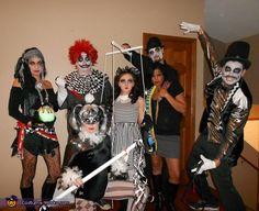 Jaime: Our Dark Circus includes the ringmaster, fortune teller, acrobat, clown, puppeteer and puppet, and snake lady. The Night Circus had inspiration to the costume with a freaky twist. The costumes...