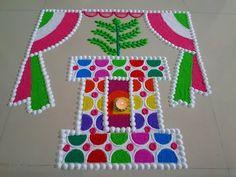 Tulsi Vivah Special Rangoli Design - Step By Step (Tutorial) - Art & Craft Ideas Easy Rangoli Designs Videos, Easy Rangoli Designs Diwali, Rangoli Designs Latest, Simple Rangoli Designs Images, Rangoli Designs Flower, Free Hand Rangoli Design, Small Rangoli Design, Rangoli Ideas, Colorful Rangoli Designs