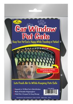 Pet Parade Car Window Pet Gate. New from $7.95. Expands to fit most car's side window. Made of durable polypropylene. http://www.amazon.com/dp/B007II01D8/ref=cm_sw_r_pi_dp_vRnMsb08G9X01NEQ