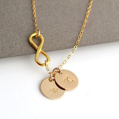 SALE 10% Infinity Initial Necklace, Personalized Gold Necklace, Monogram Letter, Custom Stamped Disc, Two Discs by malizbijoux. Explore more products on http://malizbijoux.etsy.com