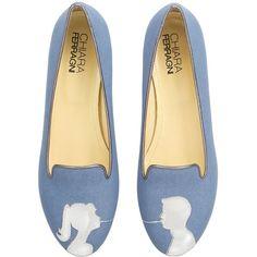 CHIARA FERRAGNI 10mm Spaghetti Kiss Denim Loafers - Light Blue (1206265 PYG) ❤ liked on Polyvore featuring shoes, loafers, flats, blue, scarpe, light blue, blue shoes, loafer flats, flat pumps and light blue flats