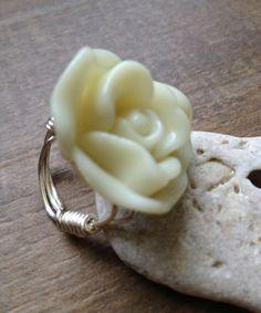 Flower Ring Cream Acrylic Flower Made to by BeachDaisyJewelry, $7.00