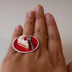Kawaii Cute Miniature Food Ring  A Slice of by fingerfooddelight, $10.00