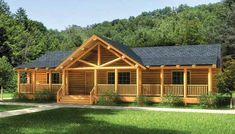 The Swan Valley log home plan has everything you need on one floor of log home living. This beautifu ...