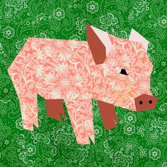 Pig paper pieced quilt block pattern PDF. $2.90, via Etsy.