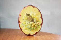 wooden owl plaque