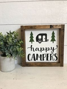 Happy Camper Sign- Camping Sign- Farmhouse Decor- Farmhouse Signs- Rustic Decor - Happy Camper Sign- Camping Sign- Farmhouse Decor- Farmhouse Signs- Rustic Decor by TheSunnyNestDeco - Camper Signs, Diy Camper, Camper Life, Camping Theme, Camping Hacks, Camping Ideas, Camping Packing, Camping Glamping, Beach Camping