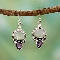 Moonstone and amethyst dangle earrings, 'Regal Allure' by NOVICA