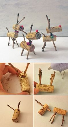 Make Rudolph proud with these easy to make reindeer cork ornaments! #Ornaments #Christmas #Wine Cork