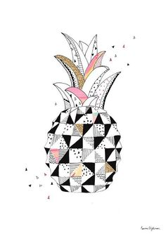 Ananas illustration by Laura Blythman Art And Illustration, Pattern Illustration, Illustrations, Pineapple Illustration, Pineapple Art, Pineapple Images, Pineapple Drawing, Pineapple Quilt, Cuadros Diy