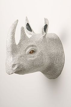 """Savannah Story Bust"" a papier maché rhino mounted head by Anthropologie #rhino #FauxTaxidermy #trophy - Carefully selected by GORGONIA www.gorgonia.it"