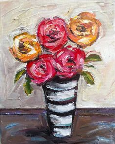Abstract Roses Striped Vase Painting by DevinePaintings on Etsy, $58.00