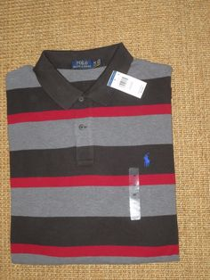 Polo Ralph Lauren Pique Polo Shirt Mens XLT Red w// Navy Pony $98 Classic Fit NWT