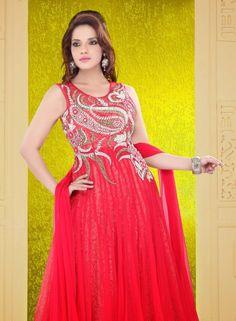 Buy Bollywood Designer Red Anarkali Salwar Kameez In Net $271.91 .  Shop at - bollywood-ankle-length-anarkali.blogspot.co.uk/2014/08/buy-bollywood-designer-red-anarkali.html