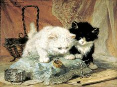 Two kittens on a pin cushion watching a bug.