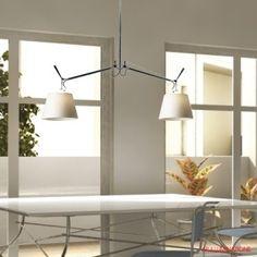 Lampadario lampada sospensione design moderno acciaio cromato vetro cucina  lampadari  Pinterest