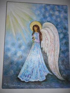 """""""ANGELICAL"""", OLEO SOBRE MADERA, 40 X 30 CM., PINTADO POR MA. EUGENIA LARA LOPEZ."""
