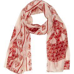 Cream diamond skull print silk scarf - scarves - accessories - women