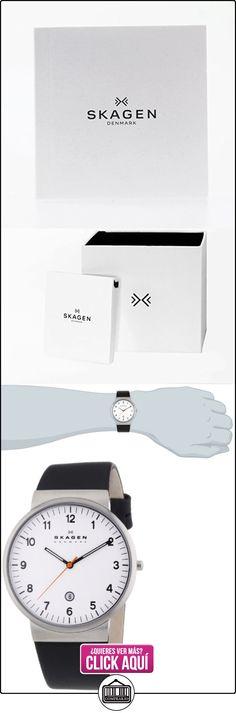 Skagen  0 - Reloj de cuarzo para hombre, con correa de cuero, color negro  ✿ Relojes para hombre - (Gama media/alta) ✿ ▬► Ver oferta: http://comprar.io/goto/B00FKY3SMS